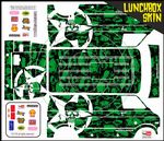 Green Gothic Skullz themed vinyl SKIN Kit & Stickers To Fit Tamiya Lunchbox R/C Monster Truck